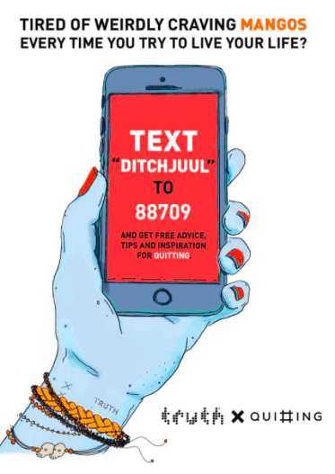 A photo to advertise the text line DITCHJUUL. A hand is holding up a cellphone with text saying to text DITCHJUUL to quit e-cigarettes