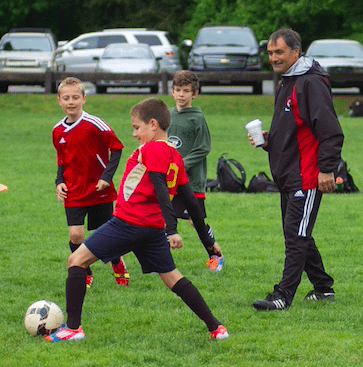 Kids playing soccer on a field