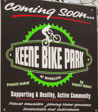 A photo saying that the Keene Bike Park will be coming soon
