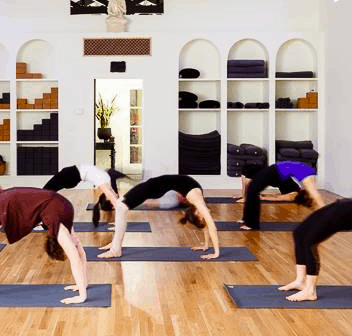 Picture of people doing yoga at the yoga space in keene