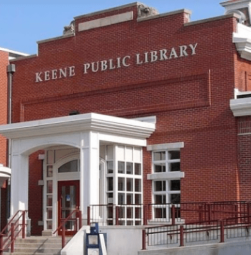 A picture of the front of the Keene Public Library
