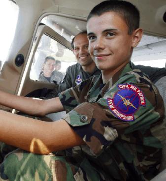 A teen flying in the Civil Air Patrol