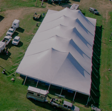 A white tent set up at the swanky Fairgrounds