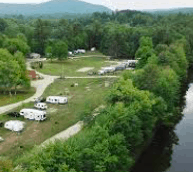 A view from the sky of ashuelot river campground