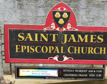 The sign for Saint James Episcopal Church