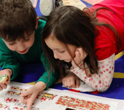 Children working at Symonds elementary School