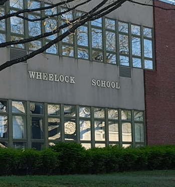 The front of Wheelock Elementary School