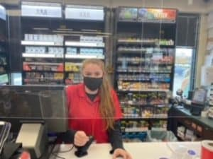 A convenience store worker